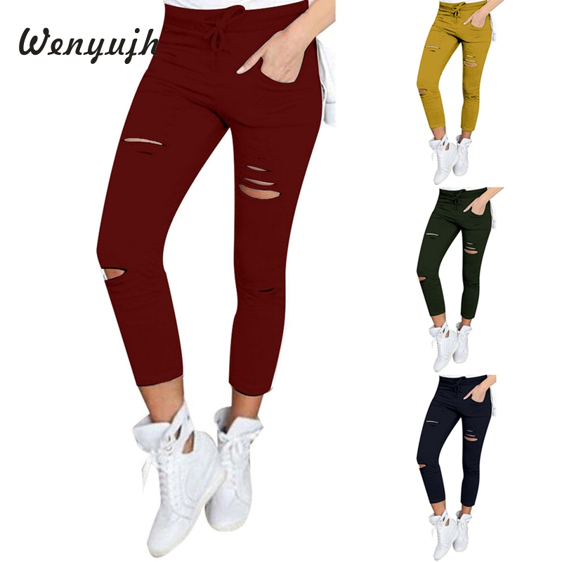 2019 Fashion Spring Autumn Stretch Ripped Jeans Women Skinny Jeans Denim Pants Holes Destroyed Knee Pencil Pants Casual Trousers