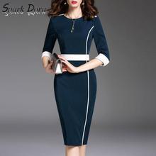 Платье с длинным рукавом SparkDora, элегантное облегающее платье средней длины с 9 точками на весну 2020, большие S-6XL
