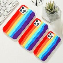 Rainbow caso de telefone para iphone 6 7 8 plus x xr 11 12 pro max silicone cor drew bonito capa traseira qualidade colorido proteger escudo