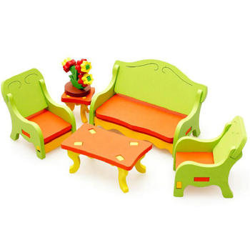 Living room 3D assembling furniture Wooden blocks toys,Model Building Kits Wood Block Toy DIY House,Baby Assembly Furniture Toys luckk 80cm diy danmark assembling building kits wooden model ships exquisite home interior decoration crafts sailboat toys gift