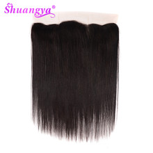Shuangya Brazilian Straight Remy Human Hair Lace Frontal Closure 13x4/13x6 With Baby Hair Middle/Free Swiss Lace Natural Color