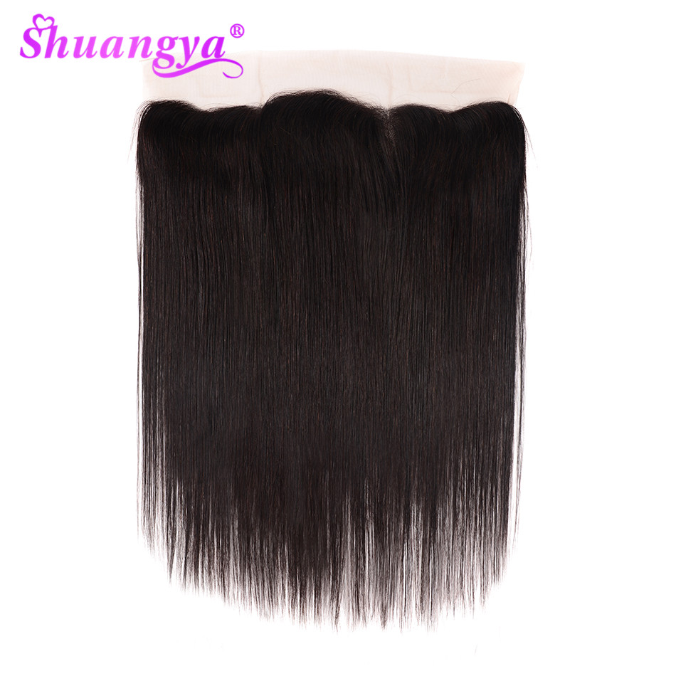 Shuangya Brazilian Straight Remy Human Hair Lace Frontal Closure 13x4 With Baby Hair Middle/Free Part Swiss Lace Natural Color