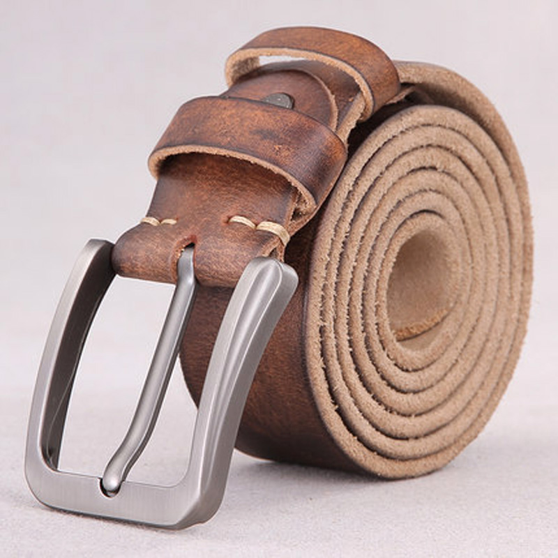 The First Layer Of Pure Leather Belt Male Youth Handmade Belt Male Leather Pin Buckle Simple Retro Belt Korean Young People