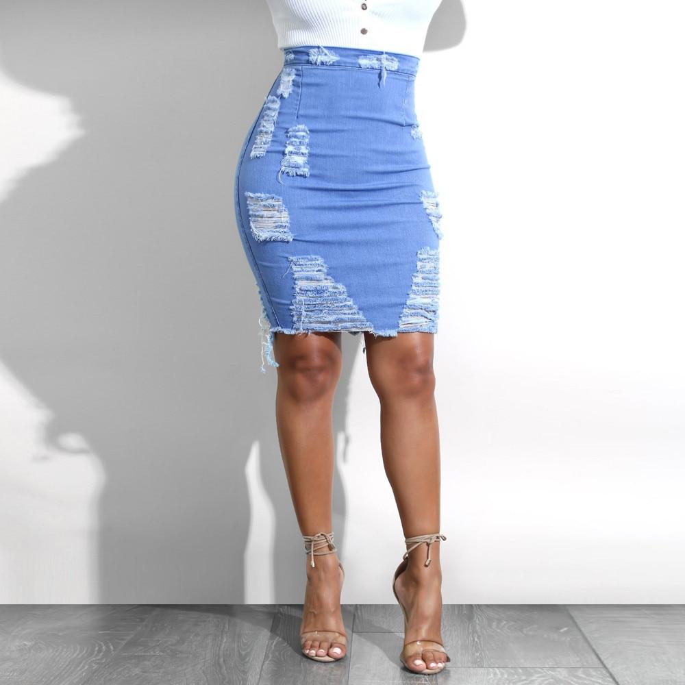 Lady High Waist Ripped Denim Pencil Mini Jean Skirt Broken Hole Sexy Skirts Women Casual Saia Fupe Femme Faldas Mujer Moda 2019