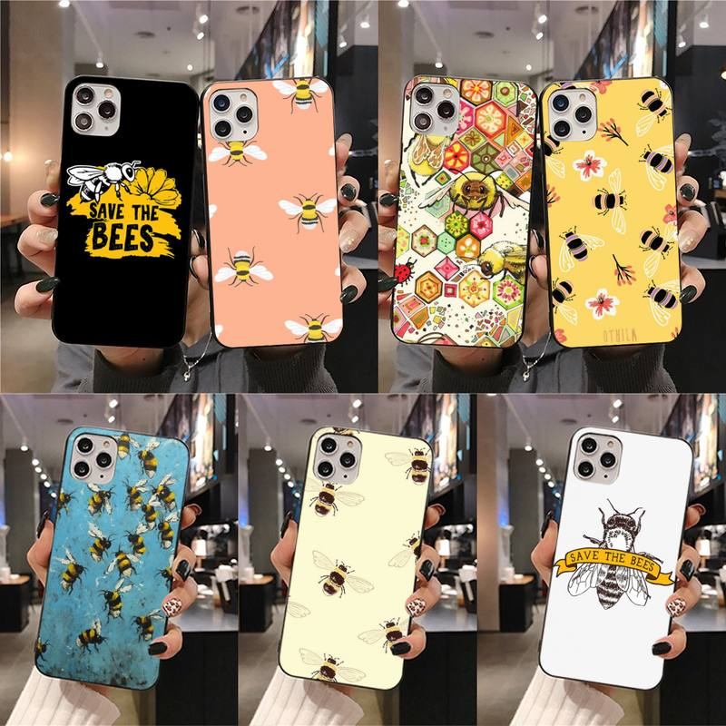 Bee Art Print Phone Case For iphone 12 11 Pro Max Mini XS Max 8 7 6 6S Plus X 5S SE 2020 XR cover