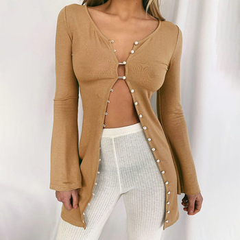 Women Casual Cardigan 2020 Autumn New Knitted Open Front Long Sleeve Mid-Length Thin Cardigan Sweater Outwear Khaki fluted sleeve open front cardigan
