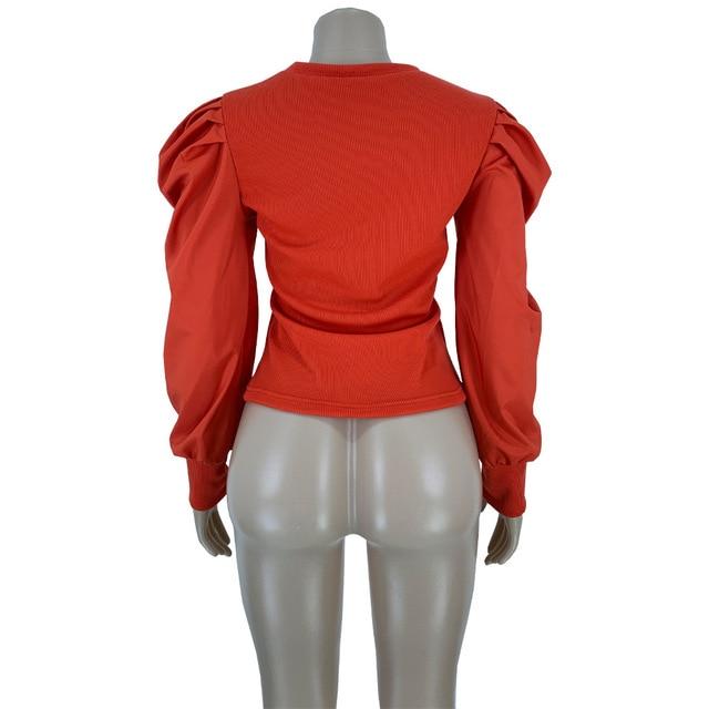 Mode nouveau manches bouffantes haut pour femme chemises blouses rouge noir blanc vert 15 couleur 5 taille