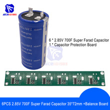 Solderless 6PCS 2.85V 700F 35*72mm Flat Feet Super Farad Capacitor Low ESR Super Capacitor w/Balancing Protection Board for Car