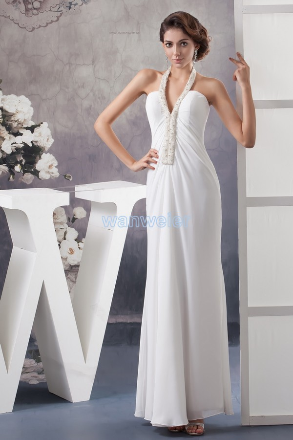 Free Shipping 2016 New Design Formal Gown Floor-length Beading Halter Custom Size/color White Chiffon Long Bridesmaid Dresses