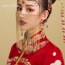 HIMSTORY винтажная китайская занавес маска для лица ручной работы с длинными кисточками Свадебные украшения для лица