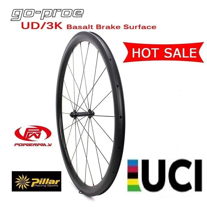 Offre spéciale Spot marchandises 700C UD/3 K façade basalte frein Surface carbone roue 38/50/60/88mm pneu pour 700c vélo de route vélo de course