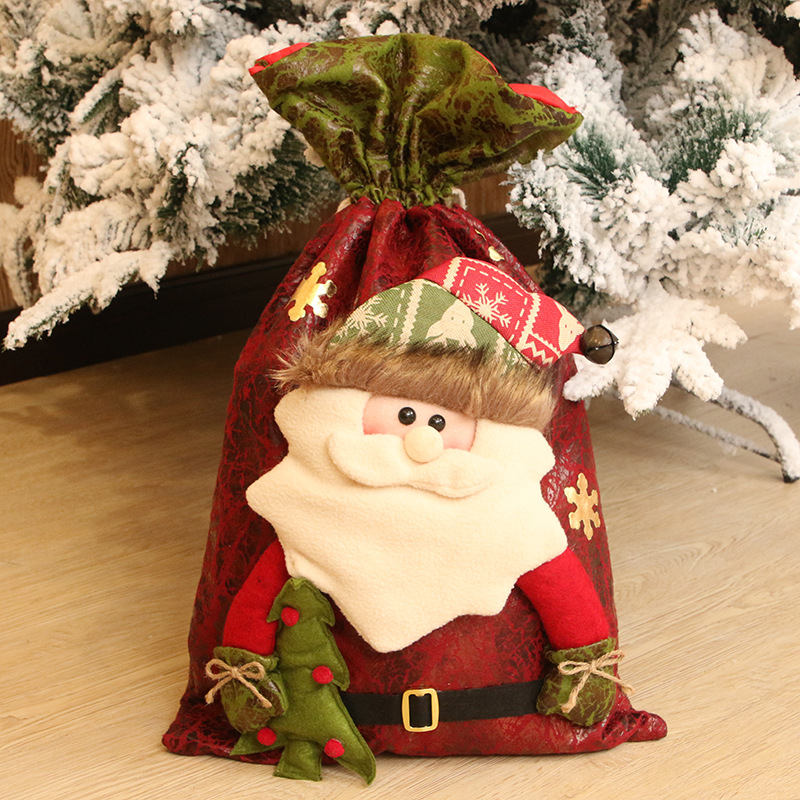 55x35cm Exquisite Christmas Day Decoration Santa Large Sack Stocking Big Gift Bags Christmas Santa Claus Gifts Navidad Bags Xmas in Stockings Gift Holders from Home Garden