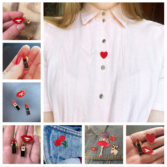 Women Brooches Lipstick Lip Love Heart Cherry Enamel Pins Fashion Sexy Brooch Clothes Lapel Button Metal Pin Jewelry Accessories 1