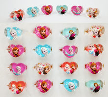 Bagues en acrylique pour enfants, 12 pièces/lot, princesse Disney, la reine des neiges, Elsa, Anna, Costume de fête d'anniversaire, cadeaux, fournitures de fête