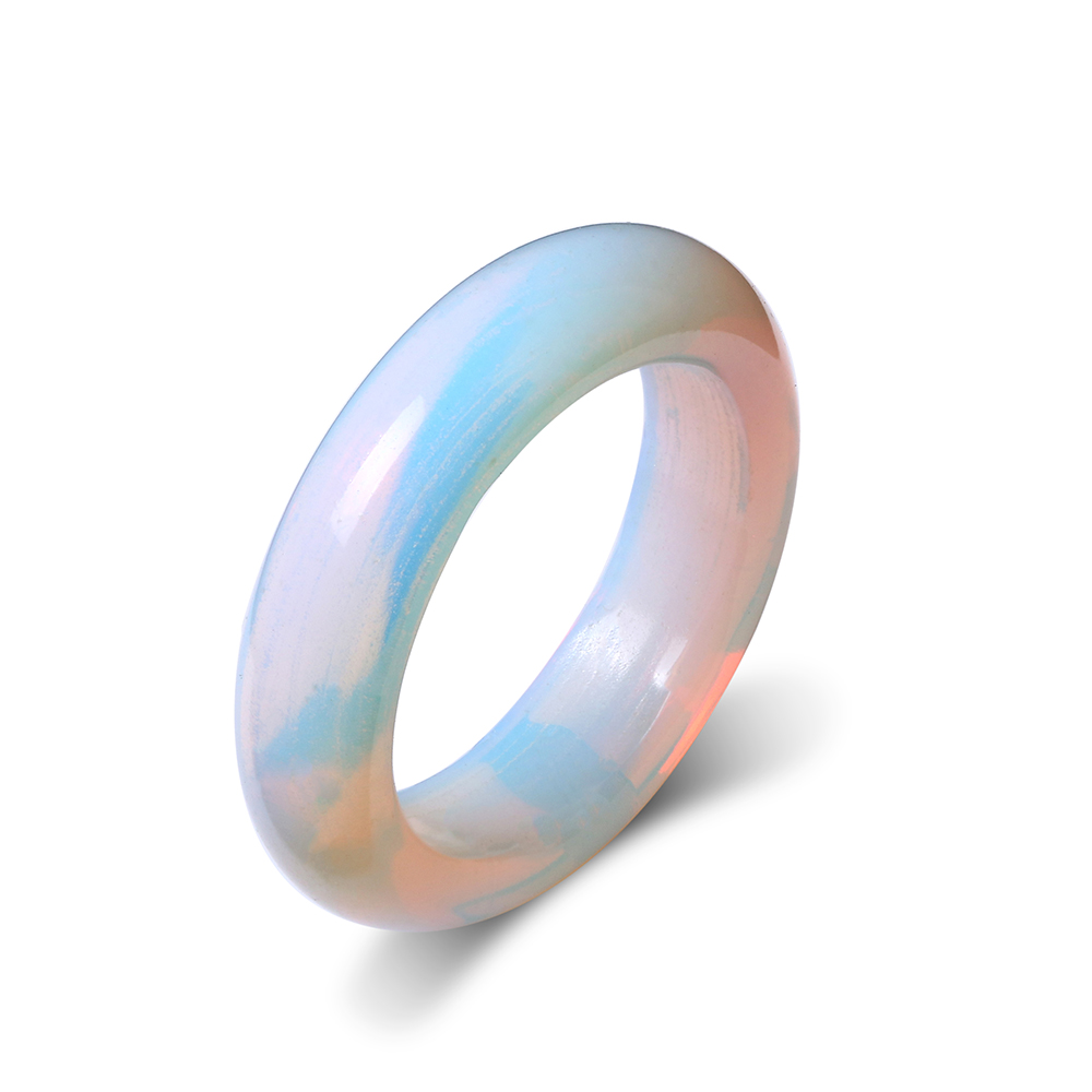 Wedding-Rings Stone Opal Clear White Translucent Women Simple Fashion Round Gem Smooth title=