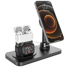 3 In 1 Telefoon Houder Voor Iphone 12 Mini Pro Max Desk Stand Telefoon Magsafe Opladen Dock Station Voor Apple horloge 6 5 4 Airpods Por