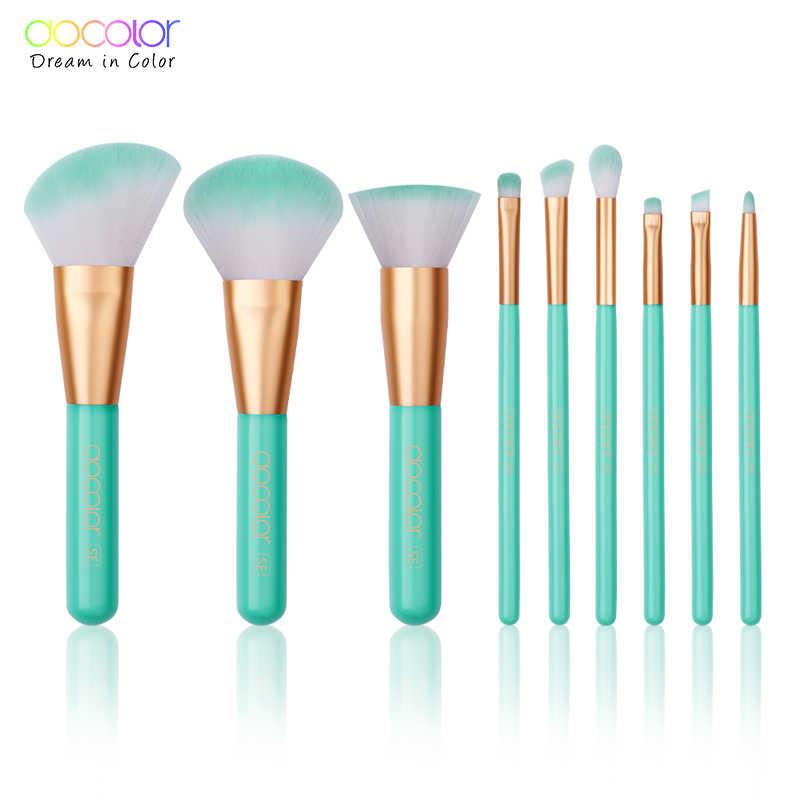 Docolor 9 Pcs Makeup Brushes Set Kosmetik Foundation Bubuk Blush Eye Shadow Bibir Campuran Make Up Sikat Kecantikan Alat Kit maquiagem