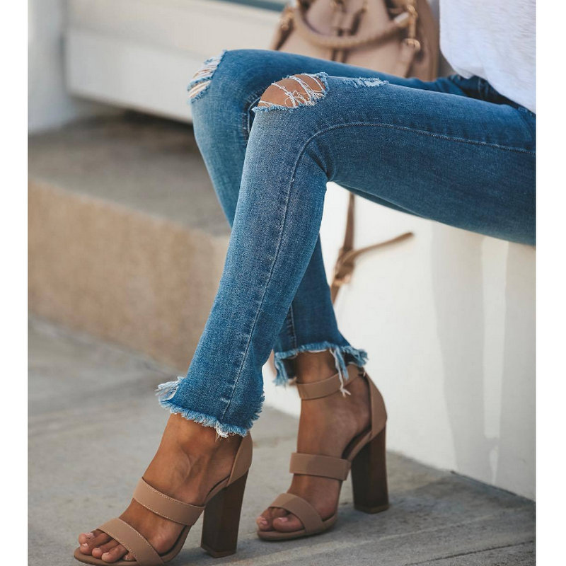 2020 Holiday Young Style Jean Solid Woman Sexy High  Woman Ripped Jeans 1041