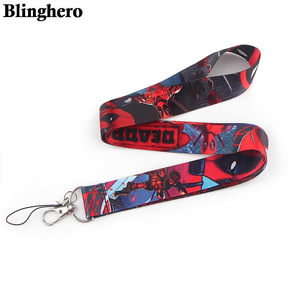 Black Red Stripes Pattern Keys Cell Phone Neck Strap String