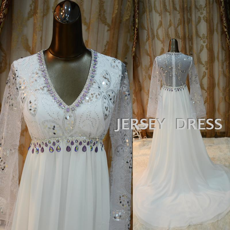 Free Shipping 2016 Woman Dress Designer White Long Sleeve Really Pictures Bride Maid Dresses Wedding Dresses Crystal Bridal Gown