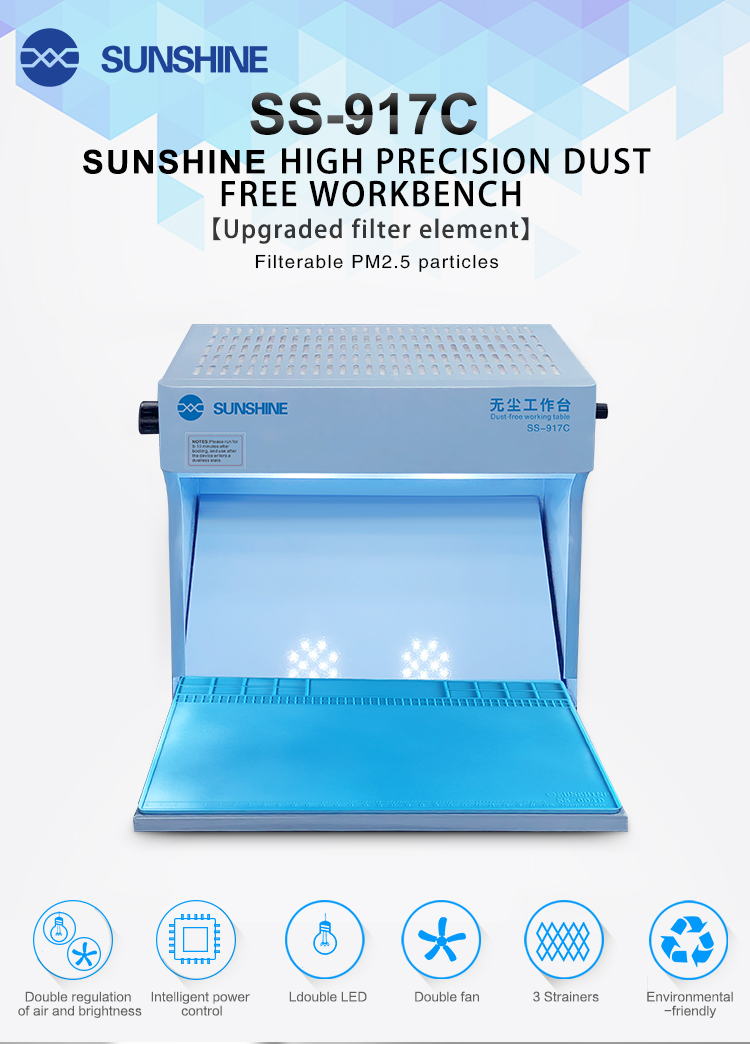 SUNSHINE SS-917C dust-free workbench mobile phone repair fitting separator cover LCD screen filter purification operation room