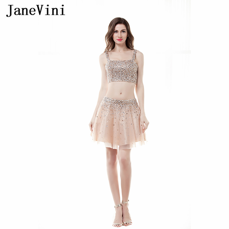 JaneVini Champagne <font><b>Sexy</b></font> Two Piece <font><b>Short</b></font> <font><b>Homecoming</b></font> <font><b>Dresses</b></font> Strapless <font><b>Crystal</b></font> Beaded Sleeveless Tulle Mini Graduation Party Gowns image