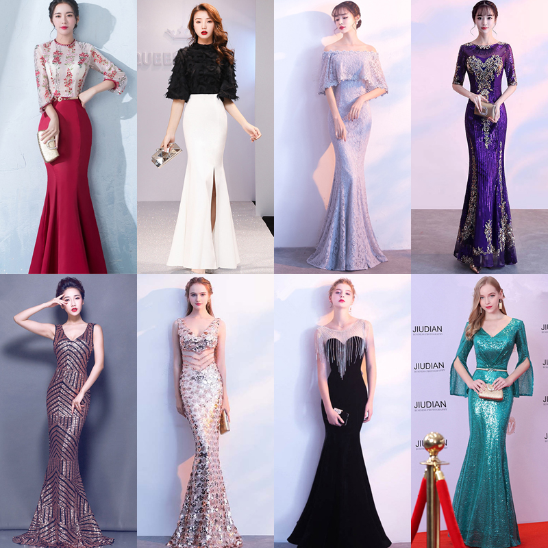 In Stock Evening Dress Sequins Tassel Fashion Spaghetti Strap Formal Trumpet Dresses Long Party Gown E043 More Styles Clearance