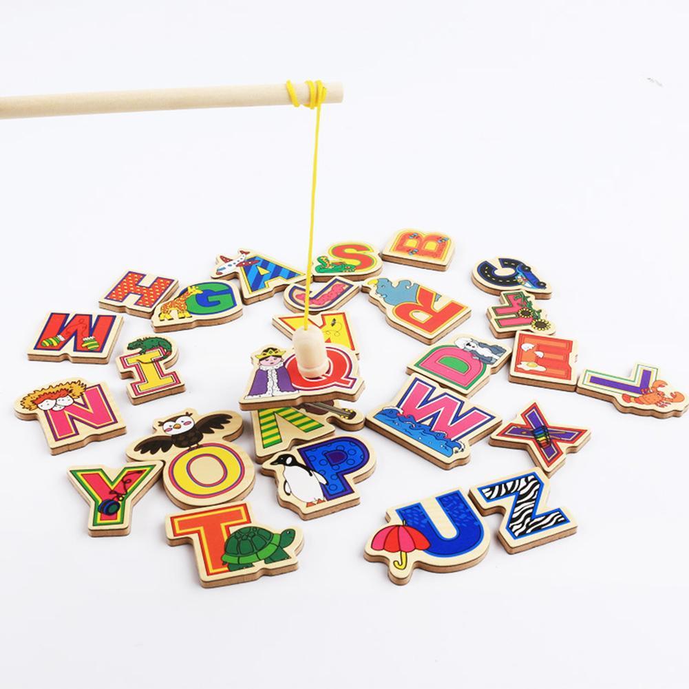 26Pcs Wooden Fridge Magnet 26 Alphabet Intelligence Development Toy Kids Children Magnetic Sticker Fishing Game Education Toy