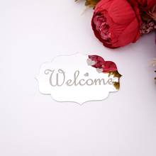 14x10cm WELCOME Indicating Signs Entrance Home Logo 3D Acrylic Mirrored Door Plate Mirror Wall Stickers Home Decor