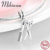 925 en argent Sterling outils de coiffure ciseaux et peigne fine pendentif perle fabrication de bijoux ajustement Original Pandora bracelet à breloques
