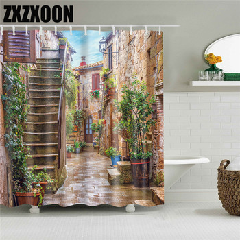 3D Colorful Street Alley Pattern Shower Curtains Bathroom Curtain Waterproof Thickened Polyester Bath Curtain with Hooks halloween night bats pattern showerproof bathroom curtain