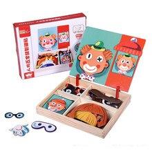 Quebra-cabeça magnético de madeira, quebra-cabeça educacional de madeira com adesivos magnéticos para crianças