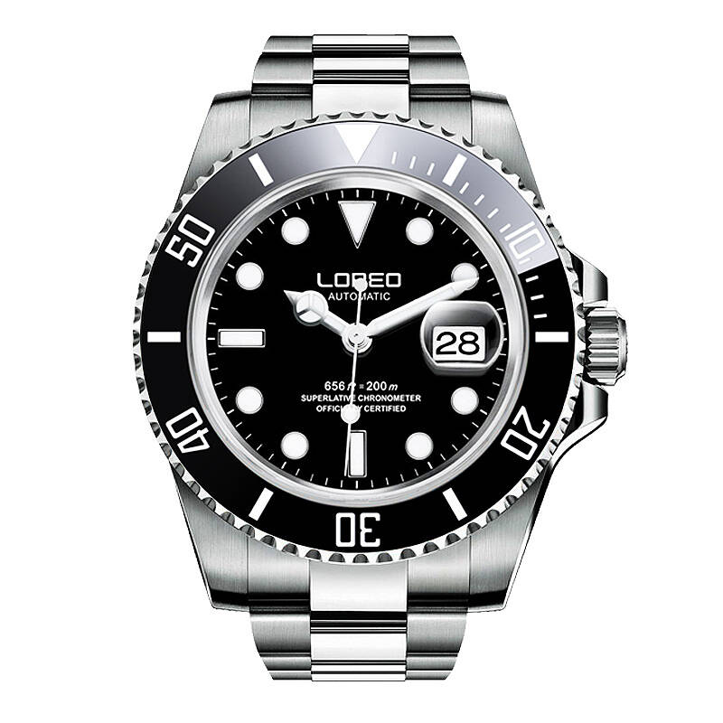 LOREO 9201 allemagne montres plongeur 200M oyster perpétuel automatique mécanique autrichien diamant noir rotatif lunette lumineuse