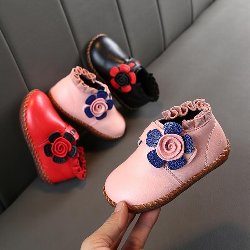 Kids Girls Snow Boots Winter Warm Flat Round Toe Kids Shoes Baby Children's Flower Pink Black Red Soft Bootss