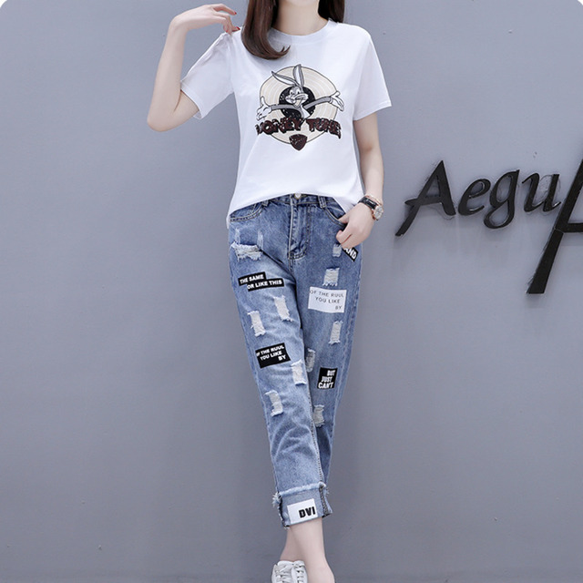 2021 Summer 2 Pieces Jeans Suits Women  Printing Hot Drilling T-Shirts + Calf-Length Denim Ripped Pants Sets Tracksuit Set 5