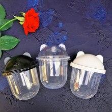 50 шт 360 мл креативная u-форма Милая чаша для напитков вечерние день рождения одноразовый сок, кофе чай пластиковая чашка с крышкой