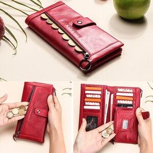 Image 2 - محفظة جلدية أصلية 100% نساء فاخرة غلق بمشبك محفظة نسائية للعملات المعدنية حامل بطاقة تتفاعل محافظ للنساء حقيبة صغيرة Cartera Mujer
