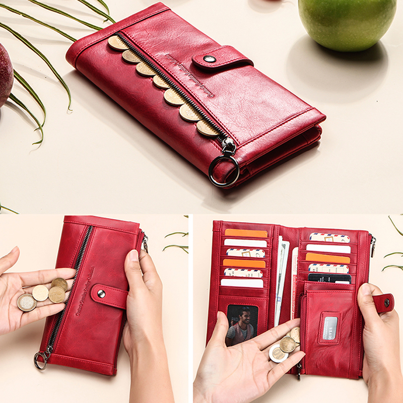 Image 2 - Contacts 100% Genuine Leather Wallet Women Luxury Coin Purse Wallets Femal Portomonee Rfid Card Holder Phone Bag Cartera MujerWallets   -