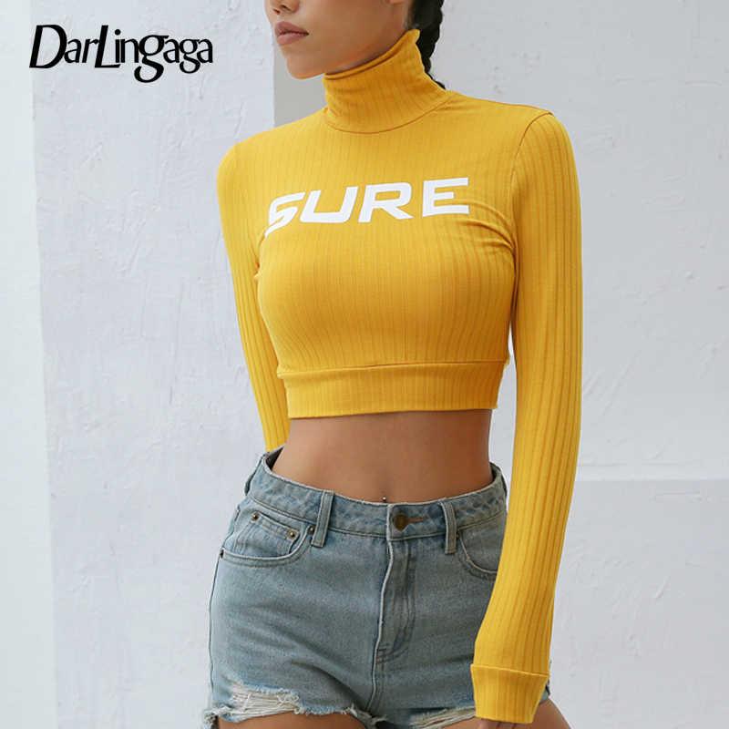 Darlingaga осень зима рифленый облегающий женский футболка водолазка черный белый короткий топ футболка с буквенным принтом Базовая футболка с длинными рукавами
