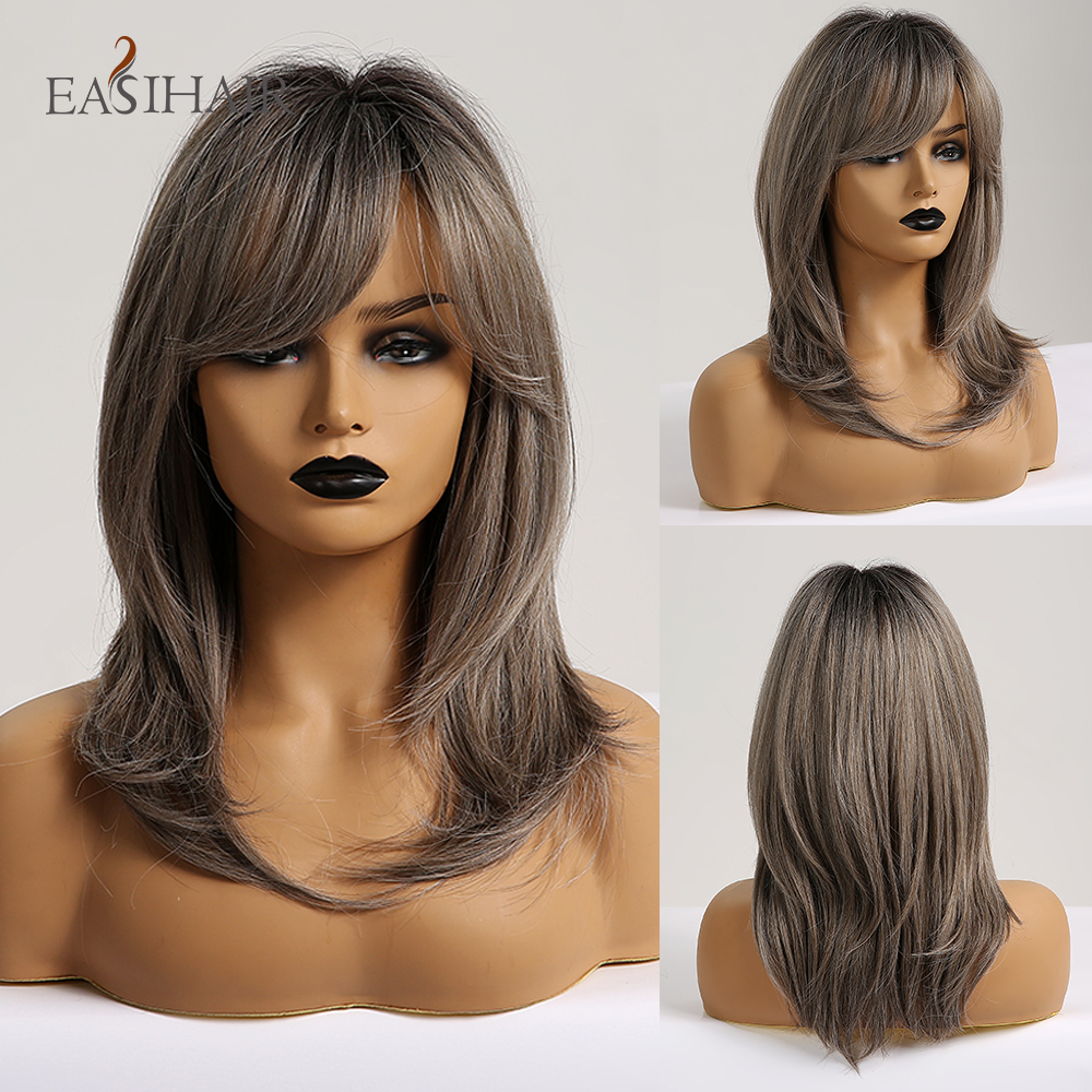 EASIHAIR Medium Length Ash Grey Synthetic Wigs For Women Wigs With Bangs Layered Cosplay Wigs Blonde Daily Heat Resistant Wigs