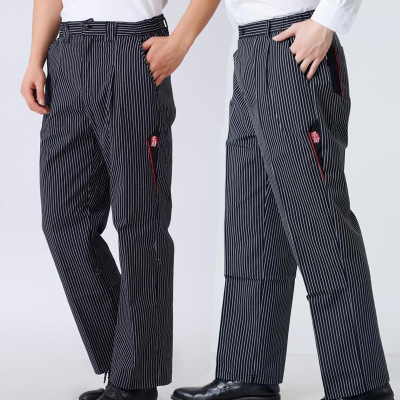 Men Chef Food Service Loose Trousers Striped Kitchen Work Wear Restaurant Uniform Male Wide Leg Business Cook Pants Maxi Bottoms