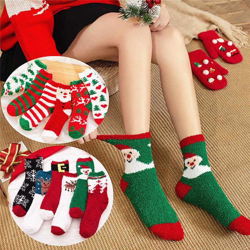 Weihnachten Strumpf Korallen Fleece Boden Socken Hälfte Samt Weihnachten Strümpfe Unisex Lustige Drucken Erwachsene Warme Casual Crew Socken O12