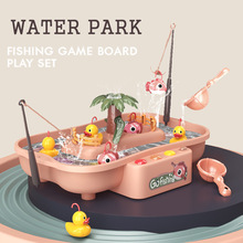 Children's Magnetic Fishing Toy Music Electric Circulation Fishing Duck Fishing Platform Water Play Game Toys for Kids Gift