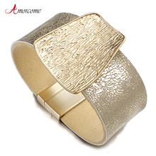 Amorcome Champagne Gold Metal Charm Genuine Leather Bracelet for Women Femme Fashion Wide Wrap Bracelets & Bangles Jewelry Gifts