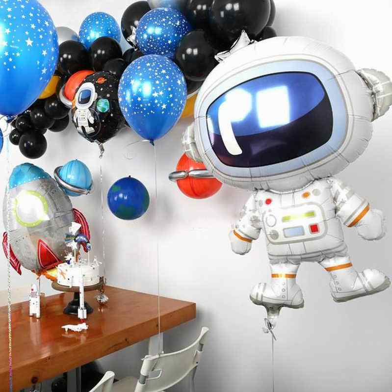 20pcs 10 אינץ שטח נושא מסיבת בלוני אסטרונאוט רוקט לסכל בלוני כוכב מודפס לטקס אוויר Globos יום הולדת ספקי צד