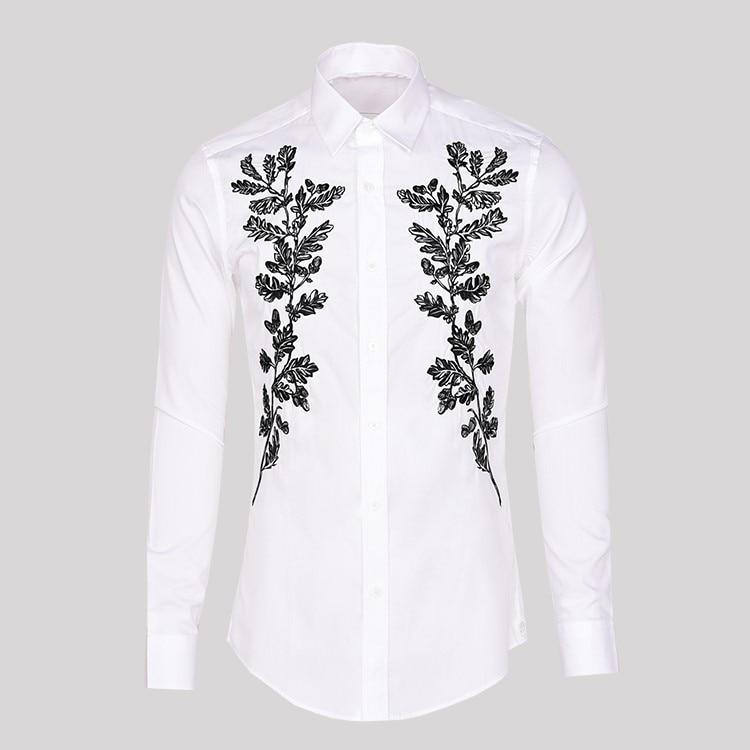 สไตล์เกาหลีต้นไม้เย็บปักถักร้อยแขนยาวสีขาวเสื้อฤดูใบไม้ร่วงฤดูใบไม้ผลิ Slim Fit ธุรกิจงานแต่งงาน Turn Down Collar เสื้อ-ใน เสื้อเชิ้ตออกงาน จาก เสื้อผ้าผู้ชาย บน   1