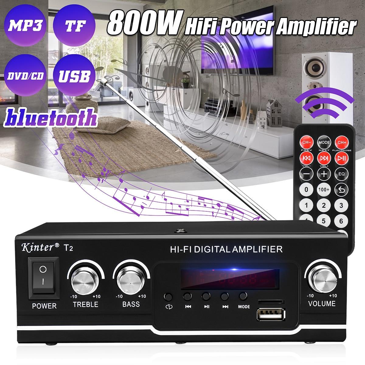 Усилитель мощности, Bluetooth, Hi-Fi 800 Вт, для автомобиля/домашнего кинотеатра, цифровой усилитель мощности звука, акустическая система ВЧ, управл...