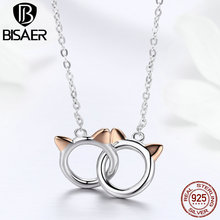 BISAER 925 Sterling Silver Rose Gold Color Cat Ear Double Cat Chain Link Necklace & Pendant Silver Girl Children Day Gift GXN252 bisaer 100%real 925 sterling silver rose gold color heart apple sakura shape pendant necklace for women fashion gift hsn313