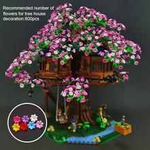 Blossom Cherry Sakura Flower Petal Building Blocks Set DIY City Street Tree House MOC Accessories Bricks Kids Toys
