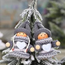 2Pcs Cute Santa Puppet Doll Pendant DIY Xmas Tree Ornament Christmas Heart Snowman Decor Star/Heart/Bell Design
